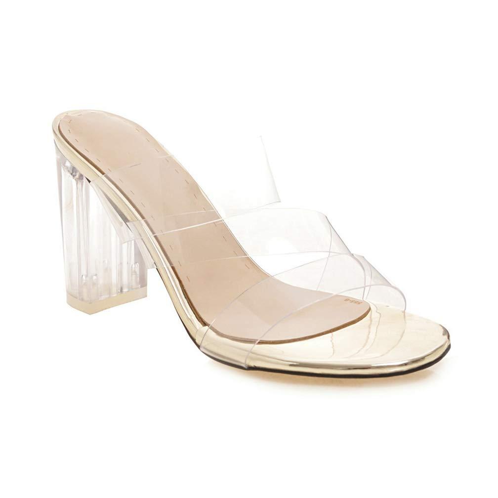 83173963dc0 Amazon.com   JEFCY Women Chunky High Heel Sandals Open Toe Lucite ...