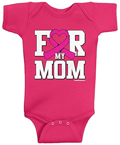 Threadrock Baby Girls' for My Mom Breast Cancer Awareness Infant Bodysuit 6 Months Hot ()