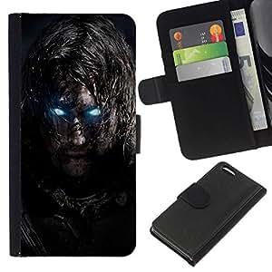 NEECELL GIFT forCITY // Billetera de cuero Caso Cubierta de protección Carcasa / Leather Wallet Case for Apple Iphone 5C // Glowing Eyes Guerrero