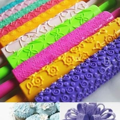 Set of 5pcs Colorful Plastic Embossed Textured Patterned Fondant Rolling Pins