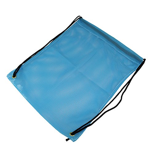 SGT KNOTS Mesh Backpack Bag Polyester Mesh Bag - 550 Paracord Drawstrings - Multi-Purpose Stuff Sack - for Laundry, Gym Clothes, Camping Gear, More (15 inch x 19 inch - Sky Blue)