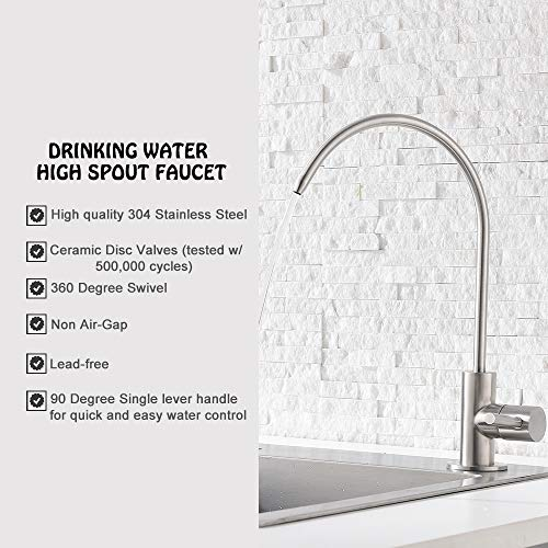 Ufaucet Modern Best Stainless Steel Brushed Nickel Kitchen Bar Sink Drinking Water Purifier Faucet, Commercial Water Filtration Faucet by Ufaucet (Image #3)