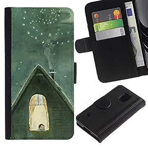 Paccase / Billetera de Cuero Caso del tirón Titular de la tarjeta Carcasa Funda para - Winter Famous Catia Chien Nucleus - Samsung Galaxy S5 V SM-G900