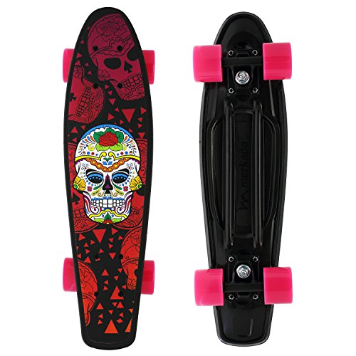 Merkapa Complete 22 inch Skull Style Skateboard for Kids, Beginners (Red) (22' Skateboard)