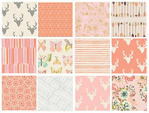 Girl's Woodland Nursery Quilt Fabrics | Hello Bear Fabric Bundle | Deer Head Fabric | Pink and Gray Quilt Bundle with Butterflies | Art Gallery Fabrics (Fat quarters)