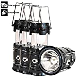 Camping Lantern, 4 Pack Outdoor Rechargeable Solar Lanterns Lamp with Handle, Led Flashlights for Camping, Power Outages, Hiking, Emergency, Hurricane, Collapsible and Portable (Black)