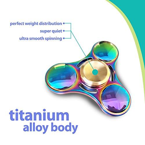 Premium Rainbow Fidget Spinner Hand Toy - Super Fast 6-8 minutes spin time - Fidget Toy for Kids & Adults - for Stress, Anxiety, Restless Hands, ADHD - Titanium Alloy - Kickstarter Titanium