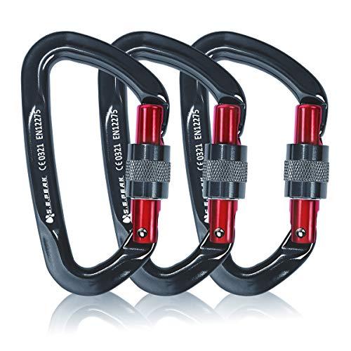 Sumder 3PCS D-Ring Locking Climbing Carabiner Aluminum Dark Gray ()