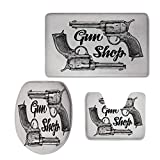 iPrint Fashion 3D Baseball Printed,Western,Modern Western Movies Cowboy Texas Times Sketchy Style Two,Black Pale Grey,U-Shaped Toilet Mat+Area Rug+Toilet Lid Covers 3PCS/Set