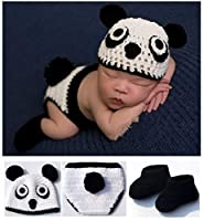 Toptim Baby Photography Prop Hat Pants and Shoes Panda Design 0-12M