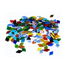 MAARYEE 400Pcs Mosaic Tiles Stained Glass Art Crafts DIY Supply Assorted Colors with Plastic Storage Box 250g