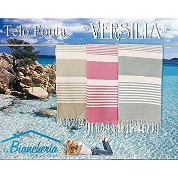 Toalla Playa Fouta Versilia tamaño grande cm.100 x 200 - rosa: Amazon.es: Jardín