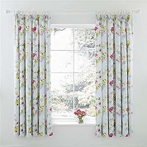 "Flores Floral Azul Forrado 66""X 72"" - 168cm X 183cm Pliegue Fruncido Curtains"