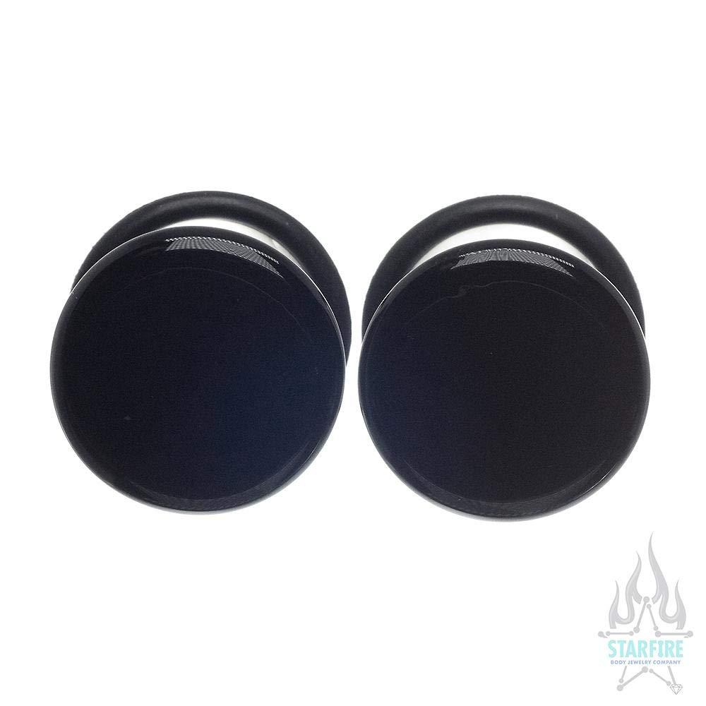 Glasswear Studios Single-Flared Glass Colorfront Plugs - Black, 1''