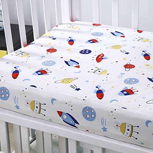 (Cok Fitted Crib Sheet, 100% Cotton, Breathable Cozy and Hypoallergenic Baby Crib Sheet for Standard Crib and Toddle Mattress. (1 Pack, Planet))