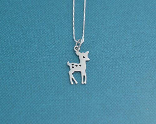 Little girls baby deer necklace in sterling silver. Little girls jewelry. Little girls sterling silver necklace. - Bambi 3