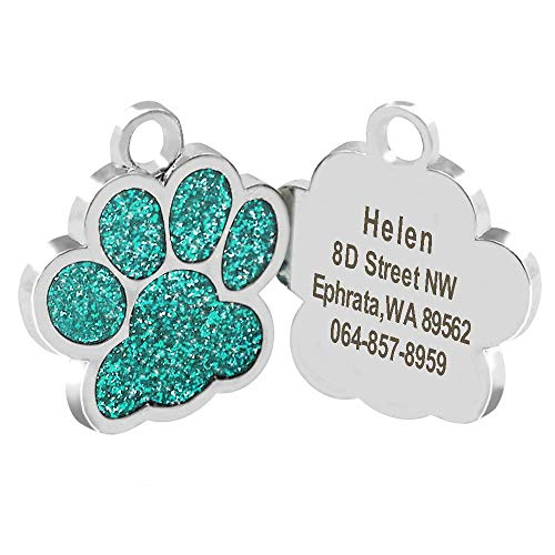 Didog Glitter Paw Print Custom Pet ID Tags for Small Medium Large Dogs and Cats,Personalized Engraving (S:0.9(2.4cm) Diameter, Turquoise)