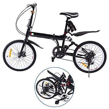 Ridgeyard Bicicleta Plegable 20 Pulgadas de 6 velocidades Bici Plegable + Luz de la batería del