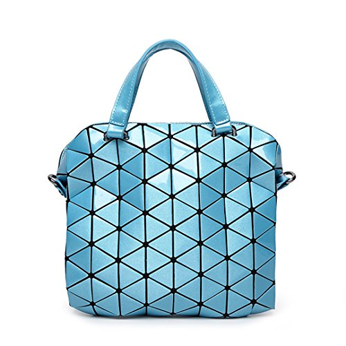 Quilted Beige Large Shoulder Geometry Tote Small Handbags Bags Foldable Bag Pearl Blue Female Laser Bag Sac Women nAS0q6
