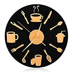 CIGERA 12 Large Decorative Kitchen Wall Clocks with Slient Non-ticking Hands,CD Shape Dial Plate and Coffee and Beverage Nuermal,Nice Gifts for Chef