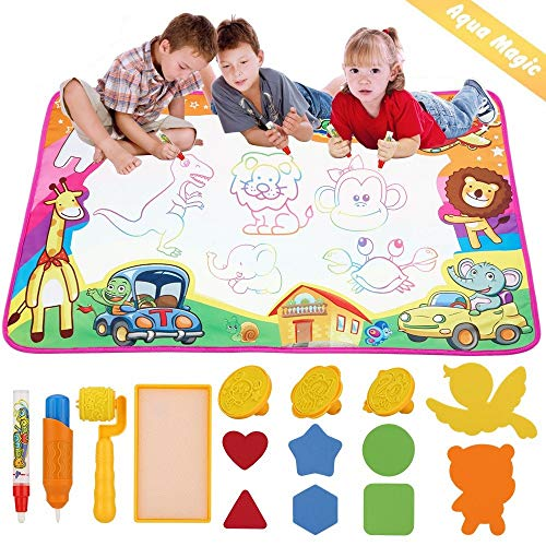 dmsbuy Aqua Drawing Mat - Large Kids Painting Writing Doodle Board Toys - Colorful Aqua Magic Mat Bring Magic Pens Educational Toys Gift for Age 3 4 5 6 7 8 9 10 Year Old Toddlers Girls Boys
