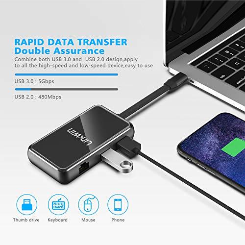 USB C Hub, LINKWIN 6 in 1 Tempered Glass USB C Multiport Adapter, USB C to HDMI, VGA, 2 USB 3.0 Ports, USB C Charging, RJ45 Gigabit Ethernet, USB C Dock Dongle Compatible Apple MacBook Pro 13 (Black)