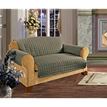Elegant Comfort Quilted Slip Cover Water-Absorbent Furniture Protector For Sofa, Sage
