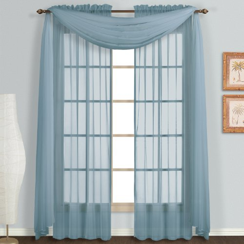 LuxuryDiscounts 3 Piece Sheer Voile Curtain Panel Drape Set Includes 2 Panels and 1 Scarf (84