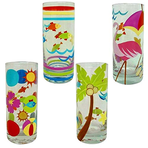 Westland Giftware Highball Glasses Tall Tumbler Glass Glassware Clear Fish Beach Ball Sun Flamingo Palm Trees Pool Luau Cocktail Soda Pop Water Iced Tea Juice Beer Party Drinking Glasses 4 Set (Club Soda Or Sparkling Water For Mojitos)