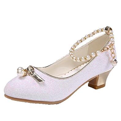 fe8c2a33a7ca OHmais Enfants Filles Chaussure cérémonie Ballerines à Bride Fête  Demoiselle d honneur Mariage Escarpin à