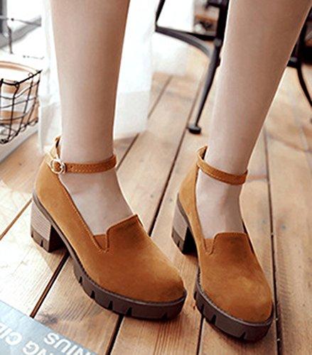 Easemax Womens Comfy Platform Tacco Medio In Chunky Cinturino Alla Caviglia Pumps Giallo