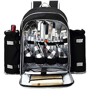 Apollo Walker Picnic mochila para 4con juego de cubiertos para picnic, al aire libre, camping, barbacoas, enfriador, Negro