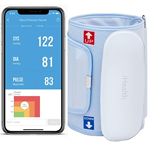 iHealth Feel Wireless Blood Pressure Monitor: Compact & Portable Digital Upper Arm Cuff - Bluetooth Compatible for Apple & Android Devices (Standard Cuff)