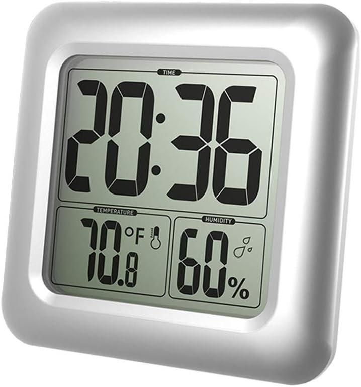 A0127 - Reloj de pared digital para cuarto de baño (resistente al agua, termómetro, indicador de tiempo de humedad)