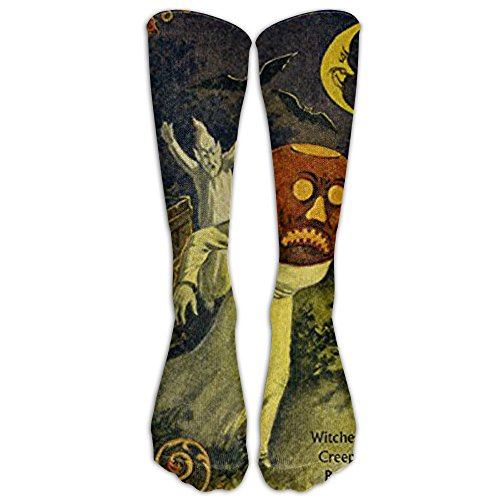 The American Halloween Ghost Black Cat Witch Prank Knee High Graduated Compression Socks For Women and Men - Best Medical, Nursing, Travel & Flight Socks - Running & Fitness (Halloween Sports Pranks)