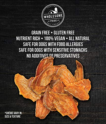 Wholesome Pride Sweet Potato Chews Dog Treats, 32 oz - All Natural Healthy - Vegan, Gluten and Grain-Free Dog Snacks - Made in USA
