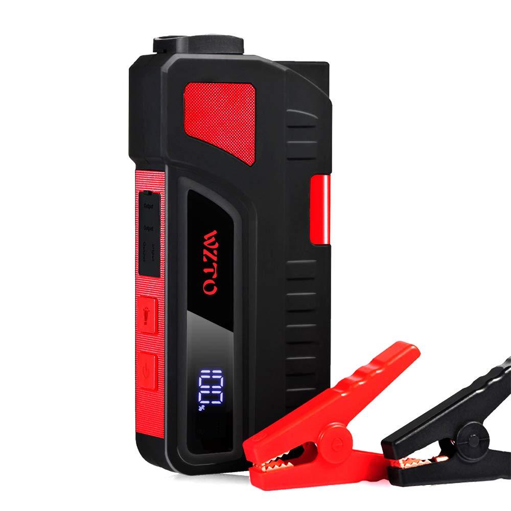 Jump Starter 12V Cable de Pinzas Cargador de Bater/ía Port/átil 20000mAh 1200A con Doble USB Salidas WZTO Arrancador de Coche Pantalla LCD y Luz de Flash LED hasta 6.5L Gas o 5.0L Diesel