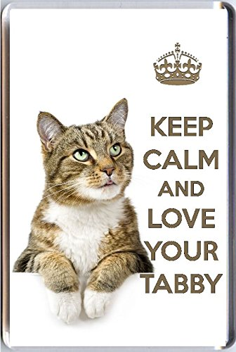 Yummy Grandmummy Keep Calm And Love Your Tabby Fridge Magnet With A Picture Of A Cute Tabby Cat. A Unique Birthday Or Christmas Stocking Filler Gift For A Cat Lover. -