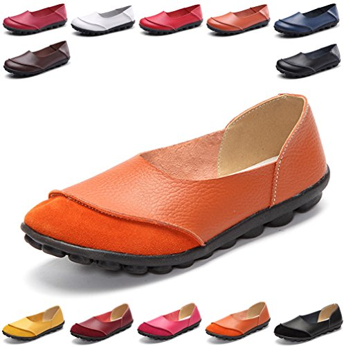 Hishoes Women's Leather Loafers & Slip-Ons Flats Driving Walking Casual Moccasins Soft Sole ()