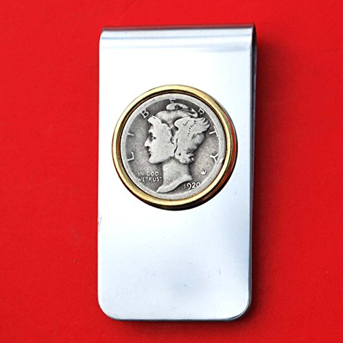 US 1920 Mercury Dime Silver 10 Cent Coin Gold Silver Two Tone Stainless Steel Money Clip New