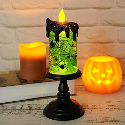 Eldnacele Halloween Tornado Lamp, Spinning Water Battery Operated Flameless Candle, Lighted Snow Globe for Kids and -
