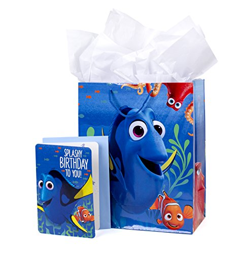 Tissue Bubble Fish - Hallmark Large Birthday Gift Bag with Card and Tissue Paper (Finding Dory)