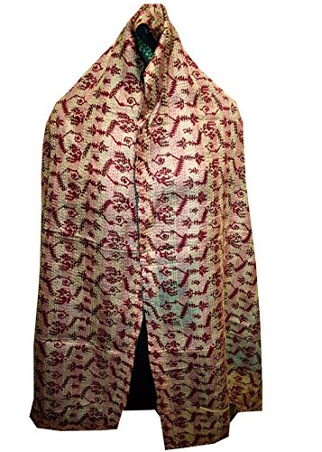 Quilted Multi Circle - Vintage Silk Quilted Kantha Fine Circle Work Stoles Reversible Hijab Scarf 99