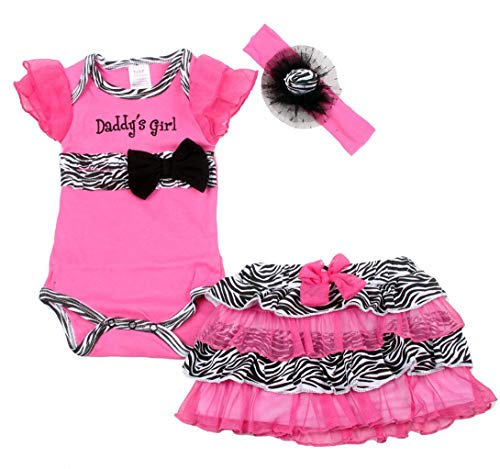 Coralup Baby Girl's Romper Dress with Headband 3pcs Outfit Set(Zebra,Rose,9-12 Month)