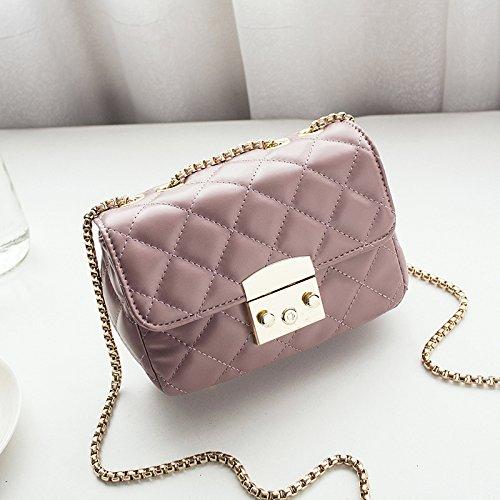 GUANGMING77 Mini Cadena Cadena Celosía Bolsa De Rosa Pink Satchel Bag Bolsa Celosía Bag Square 88xzw4gqr