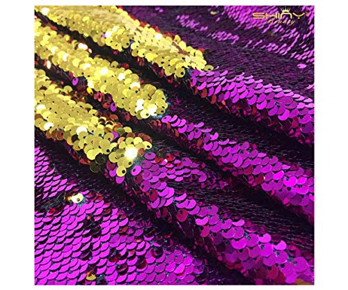 Two Tone Sequin Fabric Magenta and Gold 12 Feet 4 Yards Elegant Mermaid Sequin Fabric Shimmer Sequin Material Flip Up Sequin Fabric ~190524S