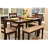 5pc Dining Dinette Table Chairs & Bench Set New Walnut Finish 150237b