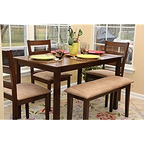 5pc Dining Dinette Table Chairs Bench Set New Walnut Finish 150237b