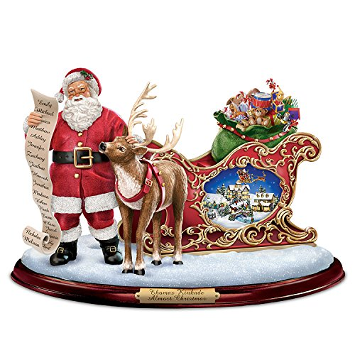 Thomas Kinkade Santa Sculpture with Miniature Village: Lights Music and Motion by The Bradford Exchange