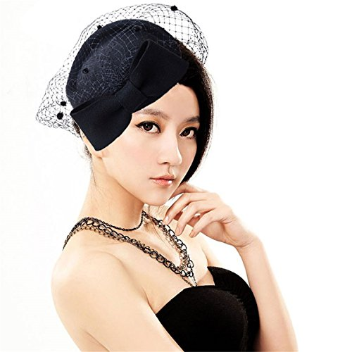 Black Wool Felt Dress Hat (Lady Womens Dress Fascinator Wool Felt Pillbox Hat Party Wedding Bow Veil A082 (Black))